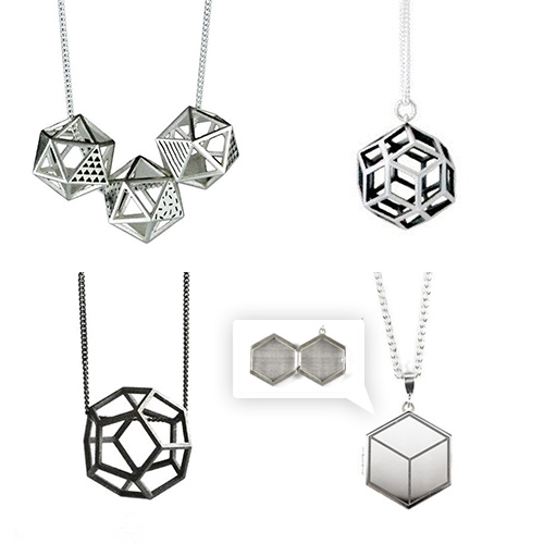 A Skulk of Foxes Polyhedra Collection. Necklaces, bangles, lockets, earrings are more inspired by 3D geometric solids.