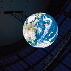 The Geo-Cosmos globe nearly 20 feet in diameter, features resolution of over 10 million pixels spread over 10,000 OLED panels! and displays up to minute information about our planet earth. Wow.