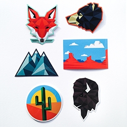 Sam Larson (aka Steel Bison) has amazing Geometric West Stickers! Love the geo fox, bison, bear and mountains!