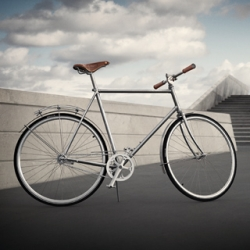 Thie beautiful Georg Jensen bike was made with Danish Søren Sögreni  bike company. The seat is Brooks leather and the bell is sterling silver plated. $5500.00 USD. wow.