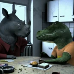 """No Room For Gerold"" is an amazing 3D animated short from Film Bilder, directed by Daniel Nocke. This tale of four roommates - a crocodile, a rhino, a wildebeest, and a hippo - is shockingly... human."