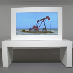 John Gerrard 'Sentry (Kit Carson, Colorado)' 2008. Realtime 3-D on plasma screen. Sculptural display: 78 x 87 x 31 1/2 inches overall with table. Edition 6. at  Knoedler Project Space.