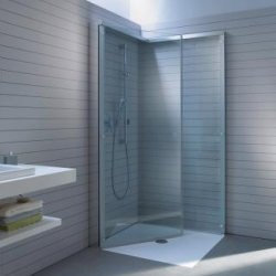 'Open Space' by Duravit is a a retractable shower cabin that folds against the wall when not in use.