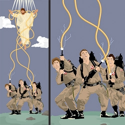 "Check out the Atheist Art of Jon Andrew Davis. His gallery show entitled ""Divine Comedy"" takes a humorous look at religion with works like ""Ghostbusters Vs. Jesus."""