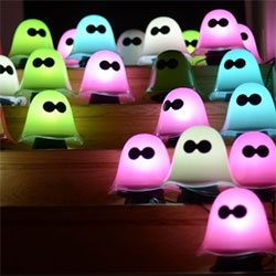 "Adorable little ""Luke"" ghost lamps - bright enough to read to, and they have a night light mode. Designed by Karim Rashid for Lucedentro."