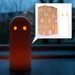 "Studio Arhoj Ghost Light - ""The little Ghost is hand cast and glazed in transparent porcelain and comes in its own printed cardboard box."" Love the box graphics too!"