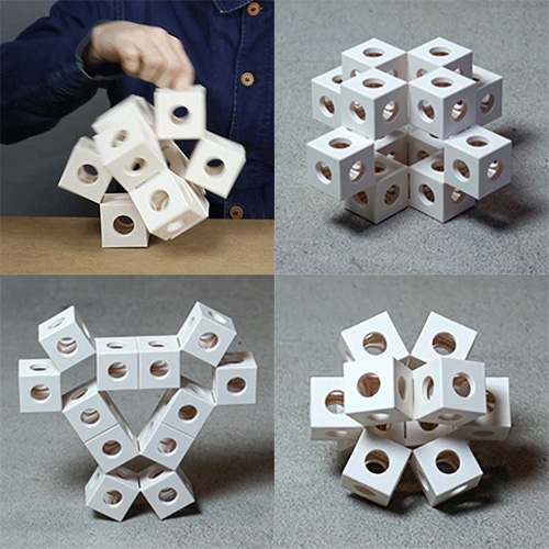 GhostKube By Erik Åberg is a moving sculpture inspired by moving origami, complete with keystones to lock in various positions. Currently on kickstarter.
