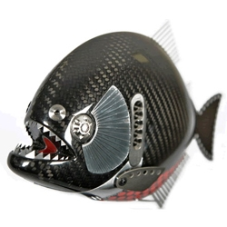 Alastair Gibson, former BAR Honda Chief F1 Mechanic creates these amazingly detailed fish sculptures made from carbon fiber and discarded Honda F1 car parts.