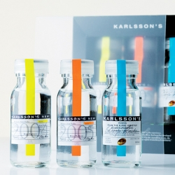 "I love the clean and retro design from Hans Brindfors, who have created these bottles of classic ""laboratory"" vodka for Karlssons Vodka."