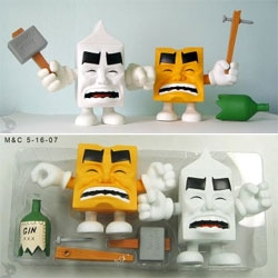 Milk & Cheese ~ dairy products gone bad... note the smashed bottle of gin xxx and hammer time hammer? by Evan Dorkin