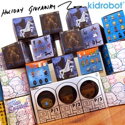 NOTCOT Holiday Giveaway #30: KIDROBOT!!! A giant tower of blind box treats ~ more than enough to share... or hoard. Tons of fun inspiration in surprise boxes...