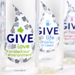 Give Water's new packaging draws attention the line's charitable mission. PurBlu Beverages, GIVE's parent company, partnered with Little Big Brands to create this new packaging.