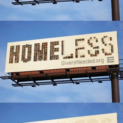 Really effective billboard advertisement by Cultivator advertising & design. The ad is for giversneeded.org, the website for the Denver rescue mission.