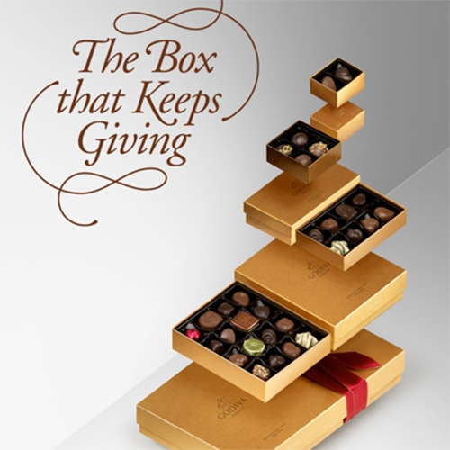 Godiva The Box that Keeps Giving - cute packaging concept designed to be gifted 4 times.