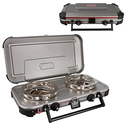 "Coleman Gladiator 2-Burner Hyperflame Portable Propane Stove - the latest addition to our NOTFZJ80 setup. It has ""HyperFlame technology, which provides an even heat distribution and better wind resistance"" and comes with two griddles."