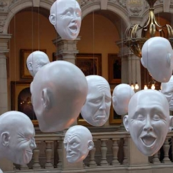 "Design Sponge guest blogger, Ronda: She's covering local artists, designers and all things Scottish. The photo ""floating heads"" sculptures in the newly refurbished Kelvingrove Art Gallery & Museum in Glasgow."