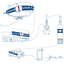 Love Hangar One Vodka's new website by Dead As We Know It ~ Farm To GLASS ~ with a blimp! Fun wiggly illustration styles through the design...