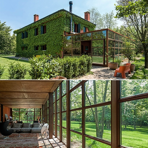 Zanon Architetti Associati Country House - a beautiful reflective addition that makes you feel as if you're right in the forest from the inside.