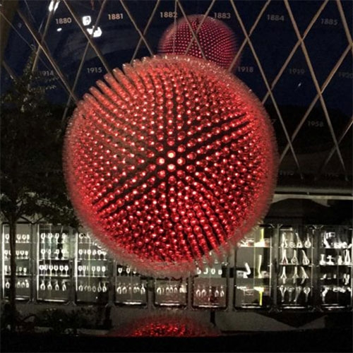 The Riedel Glass Sphere. A stunning light installation made out of 1477 glasses. Designed and developed by ZANZOTTI ID for glass manufacturer Riedel.