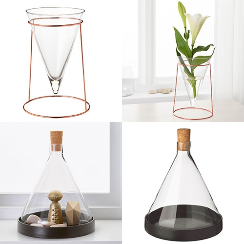 IKEA HJÄRTELIG upside down cone vase and glass dome. The dome is succulent perfect with its removable cork for air flow!