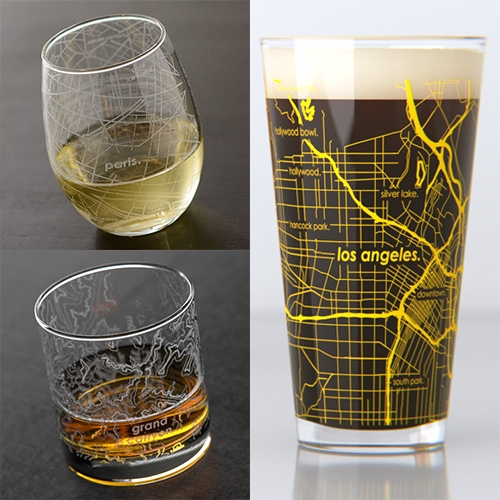 Uncommon Green Barware - customized city, university town, topography, and other info etched or printed on to mugs, rocks glasses, stemless wine glasses, pints and more. Fun idea - curious how the clarity and quality look in person.