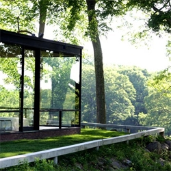 Phillip Johnson's utterly transparent intimacy, the Glass House in New Canaan, CT.