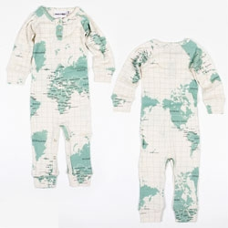 Mini Rodini's Long Leg Body Map  rib 100% organic cotton onesie turns your kid into a globe