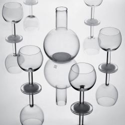 Ulla Christiansson has extended her classic Globe collection with a wine glass and a carafe, all with the same characteristic matte polished base.