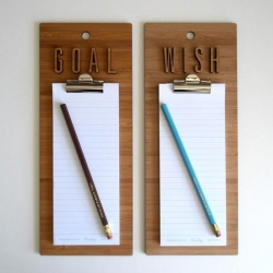 Charming clipboards from artist Maiko Kuzunishi of Decoylab. Each clipboard comes with a notepad and customized pencil that reads either, 'Make my wishes come true'  or 'I will achieve my goals'.