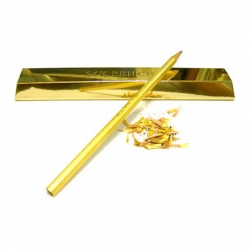 Plated with a thin layer of 99% pure 24K, this pencil comes individually packaged in what looks like a bar of gold.