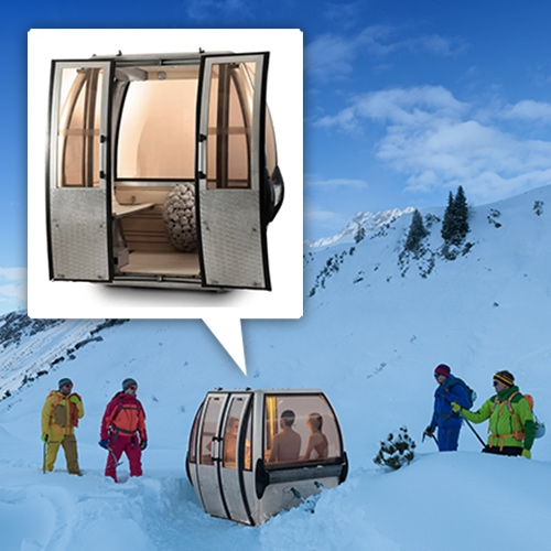 Saunagondel! Old swiss ski gondolas turned into luxury mobile saunas for 4 by Toni Egger and Felix Tarantik.