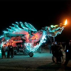 LED artist Teddy Lo and Ryan Doyle's GonKiRin art-car at Brooklyn's  Robot Heart­-O-Ween.