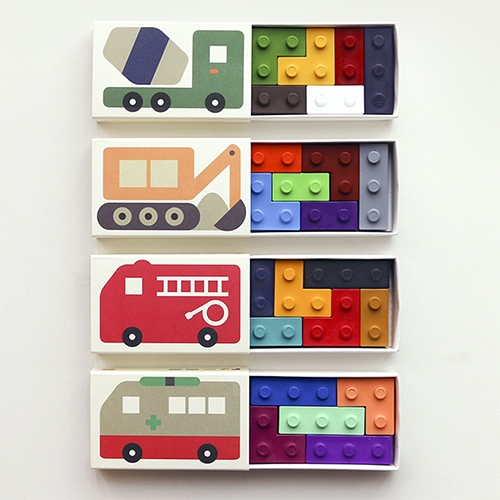 Goober Crayons - cute illustrations on matchbox style packaging with lego-esque crayon blocks