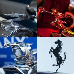 Hood ornaments and other fun details at the Gooding & Co Pebble Beach Car Auction