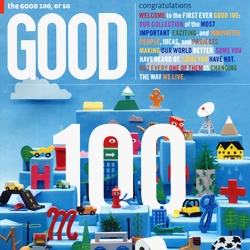 "Brian Rea, Will Etling, and many paper cutters contributed to the great cover for ""The Good 100"" special Fall 2009 issue of GOOD magazine..."