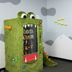 Mark Jacobs and Mette Hornung Rankin create the Goodie Monster, a good food vending machine for their office building.