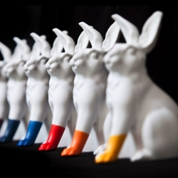 Luck Bunnies by Scott Patt (of Converse fame). For his upcoming solo show at Portland's very own Grass Hut.
