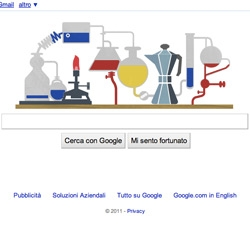 Google celebrates 2 centuries from Robert Bunsen's birth with a funny lab-logo.