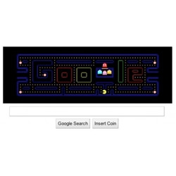 In celebration of Pacman's 30th anniversary, the Google logo appears as a playable game of Pacman.