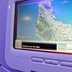 "Google updates the maps in virgin america's RED ~ ""it more closely matches what you'd actually see if you had cloud-penetrating eyesight and looked out the window from 35,000 feet."""