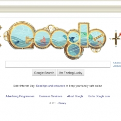 Google doodle celebrating the birth of Jules Verne , inspired by 20,000 leagues under the sea.