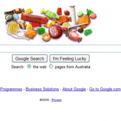 google's clever Halloween theme 'Click or Treat!' Click the logo for more and more candy! 3 clicks per person please. That's my candy fill for the day.