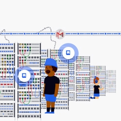 Google tells the story of how their data flows with an animated journey following an email.