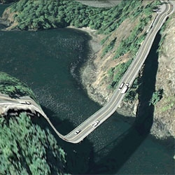 Clement Valla is the author of 'Bridges' an amazing  screenshot collection made from bridges and roads from Google Earth which bring us landscapes mixed with three dimensional & two dimensional aesthetics.
