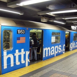 "Google promotes ""Google Maps"" in the subway in New York."