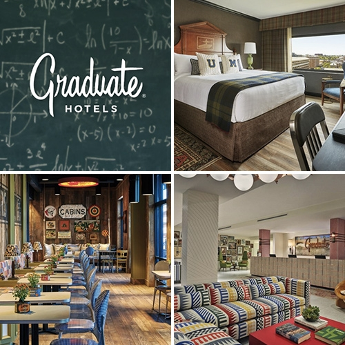 Graduate Hotels - interesting concept and bold design. A hotel brand spreading across university towns like Ann Arbor, MI, Oxford, MS, Charlottesville, VA, Berkeley, CA, Durham, NC and more...