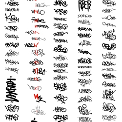 Evan Roth has been breaking down the graffiti alphabet for years now. Here is a digital collection of tags sorted found in Paris.