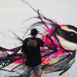 Brazilian street artist Luis Seven Martins successfully blends roughness and elegance in his Graffiti Birds urban paintings on the walls of Sao Paulo, Brazil.
