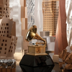 In one of the most unexpected collaborations of the year, architect Frank Gehry has created the official artwork for the 54th Annual Grammy Awards.