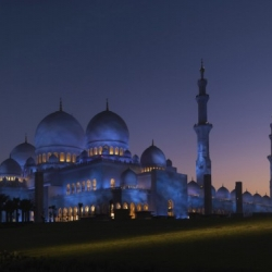 This new mosque in Abu Dhabi gradually changes colour with the moon: it is illuminated bright white at full moon and lit deepest blue by the 14th day of the cycle.